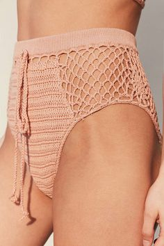 UO Somedays Lovin Daphne Crochet High-Waisted Bikini Bottom (Rose)