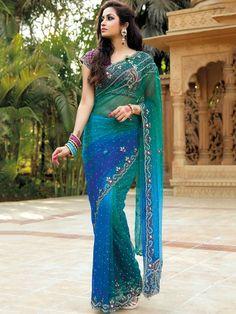Green And Blue Designer Saree