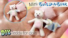 Miniature (NO SEW) Build A Bear Inspired Teddy Tutorial. DIY Dolls.Dollhouse