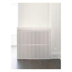 Custom radiator cover by MQD. Custom Radiator Covers, Modern Radiator Cover, Apartment Interior, Living Room Interior, Home Interior Design, Wall Radiators, Zeina, Built In Furniture, Bay Area