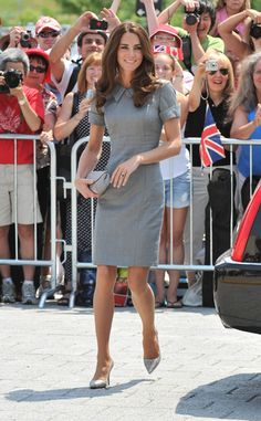 Dove-gray day dress by Catherine Walker with matching pumps