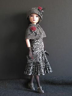 """1920 Style Shades of Gray OOAK w Shoes Hand Made 4 Ellowyne Wilde 16"""" MSD by JEC 