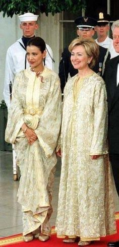 Hilary Clinton with Moroccan princess Lalla Maryem, both in traditional Moroccan kaftans