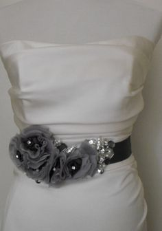 Custom sash, made in shades of Grey and lots of embellishments all freehand. Each is One of a KIND.
