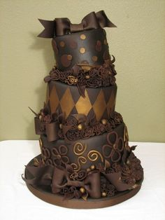 Dark Chocolate Wedding cakes are great in Autumn  OH MY GOD.  LOVE the all chocolate and gold together!!