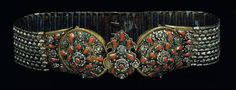 Leather belt covered with sewed on metallic elements, fastening with a tripartite buckle, ornamented with ribbed corals and green filigree enamel. Corals, 18th Century, Filigree, Folk Art, Asia, Greek, Weaving, Metallic, Enamel