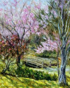plum blossoms japanese garden mayne island 20 x 16 inch oil on canvas by terrill welch - Japanese Garden Cherry Blossom Paintings