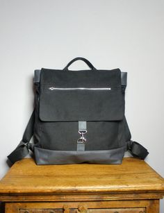 Items similar to Metro Backpack in Black Canvas Twill with Gray Leather /Multi Pockets on Etsy Black Leather Backpack, Grey Leather, Canvas Backpack, Black Canvas, Backpacks, Pockets, Purses, Gray, My Style