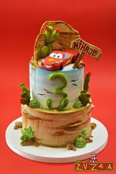 Lightening Mcqueen Birthday Cake, Lightning Mcqueen Cake, Planes Birthday Cake, Pig Birthday Cakes, Car Cakes For Boys, Rodjendanske Torte, Disney Cakes, Fondant Figures, Fancy Cakes