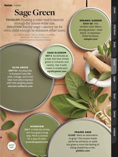 Sage green paint colors via BHG.com                                                                                                                                                     More