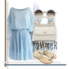 BLUSAM by revinaangela on Polyvore featuring Chicwish, Dolce&Gabbana, Linda Farrow, Blue, readyforsummer and summersandals