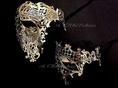 Men Women Gold Half Face Metal Evil Skull And One Eye Phantom Masquerade Mask
