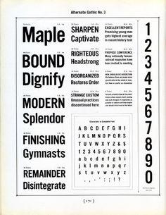 Alternate Gothic type specimen