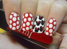Today's Daily Nail Art is this Minnie Mouse inspired design by HolyManicures. Love Nails, How To Do Nails, Fun Nails, Pretty Nails, Sexy Nails, Disney Nail Designs, Cute Nail Designs, Minnie Mouse Nails, Mickey Mouse