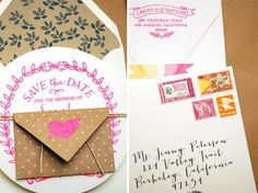 DIY Tutorial: Neon and Kraft Paper Save the Date by Antiquaria via Oh So Beautiful Paper