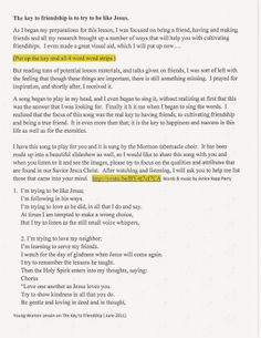 LDS Young Women Tips, Handouts & Ideas: My Friendship Lesson