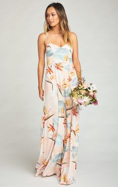 Show Me Your Mumu Godshaw Goddess Gown ~ Paradise Party - ShopStyle Dresses Bridesmaid Dresses Floral Print, Mumu Bridesmaid Dresses, Wedding Dresses, Prom Dresses, How Many Bridesmaids, Shrug For Dresses, Gowns Of Elegance, Boho Fashion, Fashion Trends