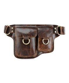 Look at this #zulilyfind! Brown Adonis Hook Leather Fanny Pack by Vicenzo Leather #zulilyfinds