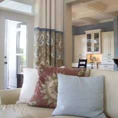 Two Story Family Room Design, 2 toned curtains