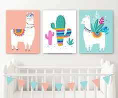 Llama Nursery Wall Decor Llama Girl Bedroom Wall Art Llama Canvas or Prints Llama Cactus Girl Pictures Llama Girl Artwork Set of 3 Decor inch Nursery Wall Decor, Nursery Prints, Home Decor Bedroom, Nursery Art, Girl Nursery, Wall Art Decor, Bedroom Ideas, Baby Decor, Wall Prints
