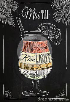Mai tai cocktail chalk