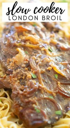 Delicious, tender London Broil is easy to make in the slow cooker! Simply prep this easy crock pot recipe in the morning and enjoy fork-tender London Broil for dinner! Crockpot Dishes, Crock Pot Slow Cooker, Crock Pot Cooking, Beef Dishes, Slow Cooker Recipes, Crockpot Recipes, Cooking Recipes, Crock Pots, Ww Recipes