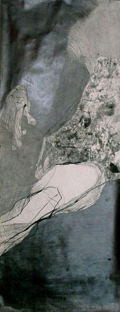 """He 01"" (fragment) by Joanna Chimka Pawlowska a monoprint with lead and crayon."