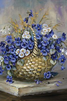 Basket In Blue Canvas Artwork by Katharina Schöttler Art Floral, Tole Painting, Watercolor Paintings, Art Carte, Acrylic Art, Canvas Artwork, Botanical Prints, Vintage Flowers, Pansies