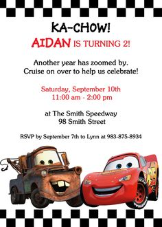 Cars Party Invite 4th Birthday Parties Themed 2nd Disney