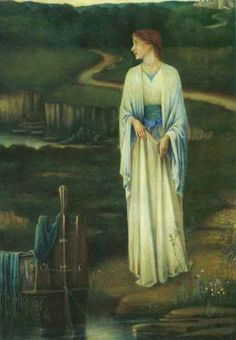 the lady of shalott | The Lady Of Shalott Painting by Seymour Garstin Harvey | Oil Painting