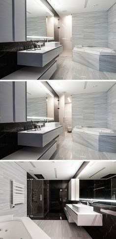 In this black and white bathroom, a lighter stone tile has been used around the bath and on the floor, and a frosted glass door separates the toilet from the main bathroom. Opposite the bath and toilet is the shower, which uses darker marble as a shower surround.