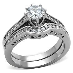 Round Brilliant CZ Wedding Ring Set