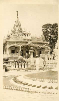 """Round the World Cruise in 1923. The photograph was printed on board the Canadian Pacific Steamship """"Empress of France."""" According to the back of the photograph this is Jain's Temple in Calcutta, India."""