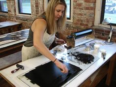 Helen laying out ink.