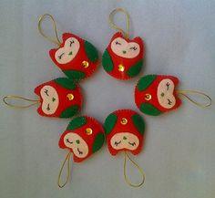 Handmade Christmas Owls set of 6