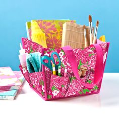 Lilly Pulitzer Desk Caddy- Perfect for the always crafting sorority girl Desk Caddy, Caddy Bag, Homework Caddy, Lilly Pulitzer Signature Store, Lily Pulitzer, Dorm Desk, Dorm Room, Makeup Crafts, Tote Organization