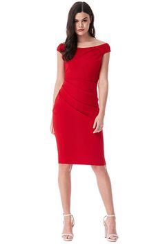 Červené pouzdrové šaty City Goddess Bella Koktejlky nemusí být vždy jen  černé. Vyjděte si do 89f27e04ba4