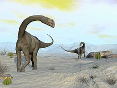 Brontomerus Dinosaurs In The Desert - Render by Elenarts - Elena Duvernay Digital Art