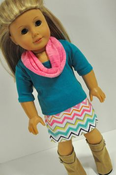 American Girl Doll Clothes Pink And Teal Chevron Mini Skirt With Teal T-shirt…