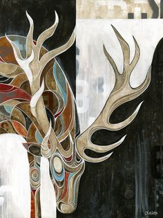 Stag art, this would be nice as a stained glass piece too.  For the den, house in the woods and mountain house/lodge.