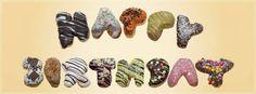 Happy Birthday Grüße aus Donuts http://www.darrysdonuts.de/unsere-donuts-produkte/balls-gefuelllt-donut-bestellen/donutbuchstaben-donuts-buchstaben-zahlen