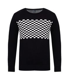 Sahara Sweater Shirt by MOC. Black sweater that made from cotton and with black color and checker pattern on the chest, round neck, long sleeves, regular fit, pair this simple but trendy sweater with jeans and chukka boots.   http://www.zocko.com/z/JIqqs