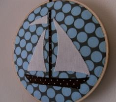 Sailboat Fabric Wall Art by gigglesandtoots on Etsy, $18.00