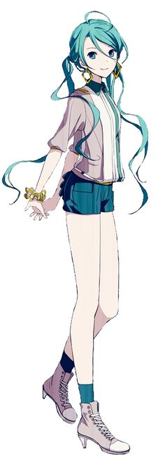 Hatsune Miku as seen in Heart a la Mode, by I love how Miku's hair is depicted here, slightly curly and done loosely - it gives her a more mature feel. Hatsune Miku, Kaito, Anime Art Girl, Manga Girl, Musaigen No Phantom World, Kaai Yuki, Miku Chan, Kagamine Rin And Len, Susanoo