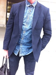 """DOUBLE DENIM""  #streestyle #denim #lfw #blazer"