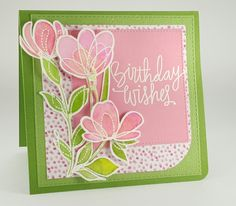 Birthday card created using Simon Says Stamp, Daniel Smith Watercolors, Wow Embossing powder.