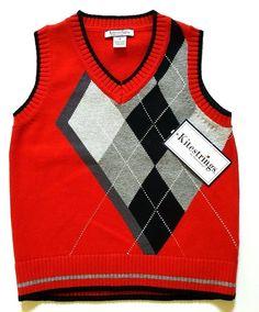 Boys Red Argyle Sweater Vest SIZE 4 Kitestrings Hartstrings Holiday NWT MSRP $46 #Kitestrings #HolidayPartyDressy