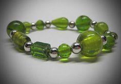 Lime Green Glass Bead Stretch Bracelet by LadyBirdJewelry on Etsy, $16.00