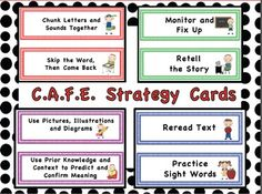 "You can use these ""stick children"" cards to create a CAFE Menu bulletin board and post the reading strategies as you introduce them."