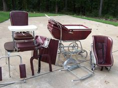 Vintage Baby carriage/stroller/hi-chair interchangeable set